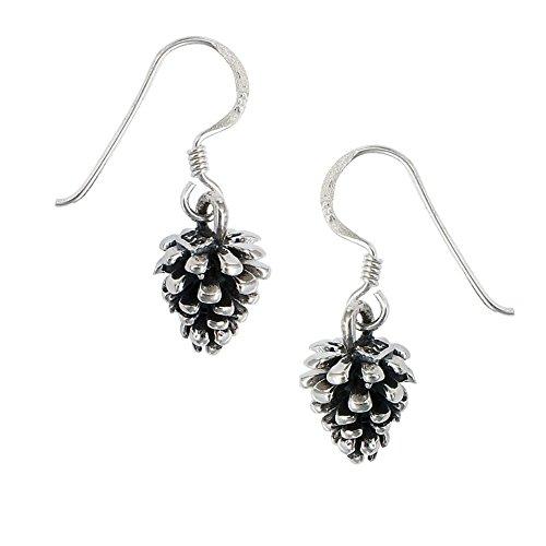 Pine Cone Earrings Sterling Silver