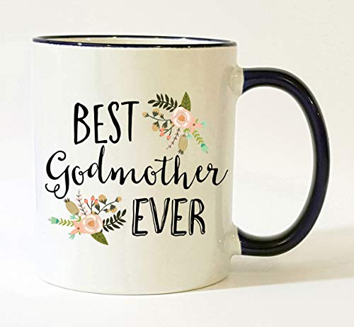 Godmother Mug/Best Godmother Ever/Godmother Coffee Cup/Mother's Day Gift/Christmas Present Birthday Gifts Pretty Feminine Floral Flowers