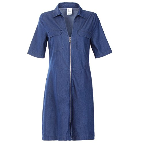 Women's V-neck Short Sleeves Casual Denim Dress with Chest Pocket and Zipper Closure