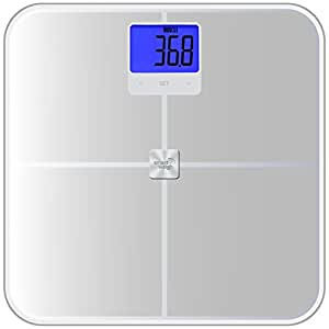Smart Weigh Digital Bathroom Scale and Body Composition Monitor with Tempered Glass Platform and 440 lb / 200kg Capacity, Measures Weight, BMI, Body Fat, Water, Muscle and Bone Mass, Silver