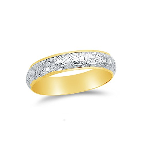 Size - 6 - Jewel Tie Solid 14k Two Toned Gold 4mm Ladies Wedding Ring Band
