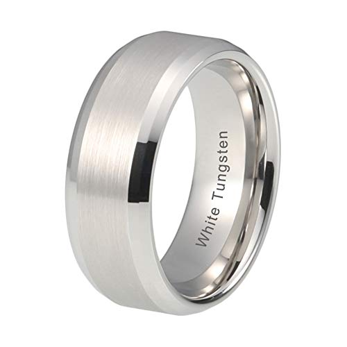 - iTungsten 8mm White Tungsten Carbide Ring Wedding Bands For Men Women Double Beveled Edges Brushed Finish Comfort Fit