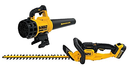 22 in. 20-Volt MAX Lithium-Ion Cordless Hedge Trimmer with 5.0Ah Battery, Charger and Handheld Leaf Blower by DEWALT