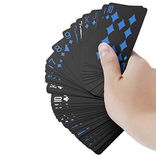 Aolvo ポリ塩化ビニル トランプ 防水 クール ブラック ポーカーカード クラシック マジック トリックツール ゲームパーティー おもちゃ 54個/バッグ