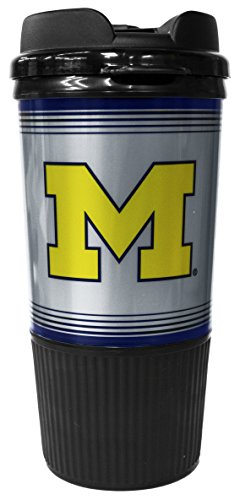 GameDay Novelty NCAA Michigan Wolverines 16oz Insulated Platinum Gripper Travel Tumbler with No Spill Flip Lid