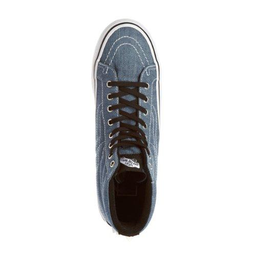 Vans sk8 hi plateform studded chaussures mode femme bleu denim canvas Vans