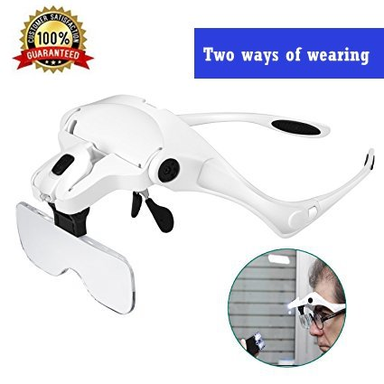 Diagtree Head Mount Magnifier With 2 Led Professional Jeweler's Loupe Light Bracket And Headband Are Interchangeable