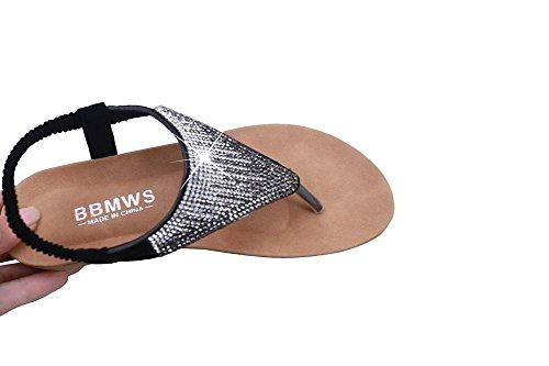 Elevin (tm) Dames Zomer Mode Kralen / Bandage / Pailletten Bohemen Plateau Platte Slipper Sandaal Schoenen Zwart 3