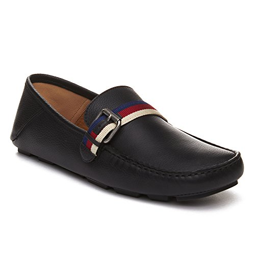 Gucci Men's Leather Sylvie Web Buckle Driver Shoes Black (Gucci Leather Shoes Mens)