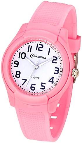 子供用アナログ腕時計 ガールズ ボーイズ 防水 ソフトストラップ 学習時間腕時計 子供用 読みやすい時間表示 キッズギフト ピンク
