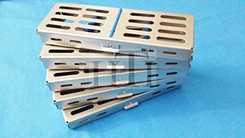 """5 PCS FRENCH STEEL SURGICAL DENTAL INSTRUMENTS AUTOCLAVE STERILIZATION CASSETTE 7"""" X 2.5"""" X 0.75"""" TRAY RACKS BOX FOR 5 INSTRUMENTS (HTI BRAND)"""