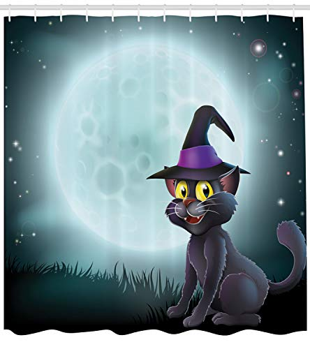 Lunarable Witch Shower Curtain, Halloween Witch Cat in a Pointy Hat in Front of a Big Full Moon on a Misty Night, Fabric Bathroom Decor Set with Hooks, 70 inches, Multicolor