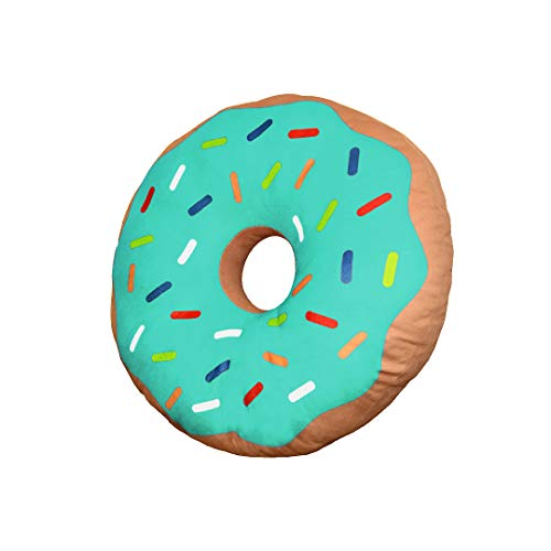 Yummy Donut Pillow - Doughnut Donut-Shaped Cushion Plush Toy or Gift (Turquoise)