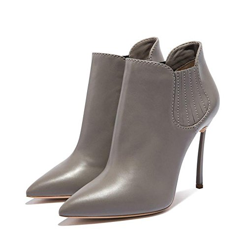 puntiaguda elástica Mujeres D BLACK ¹ Piel Heels ¨ High Botas Mode Guantes Corto Ankle banda GRAY 35 38 nne gwqfPPv