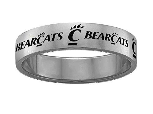 Cincinnati Bearcats Rings Stainless Steel 6MM Wide Ring Band - Full Logo (7)
