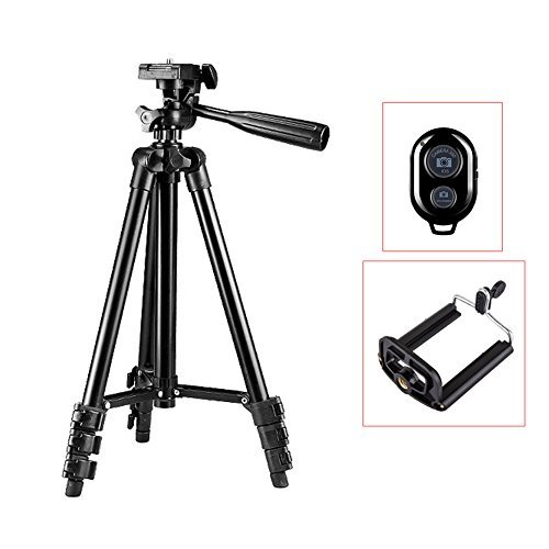 HaloVa Cellphone Tripod, Universal Aluminum Adjustable Tripod Mount with Bluetooth Remote Cellphone Holder and 360 Rotatable for iPhone, Camera And Smart Phone, Black, 41.7'' by HaloVa