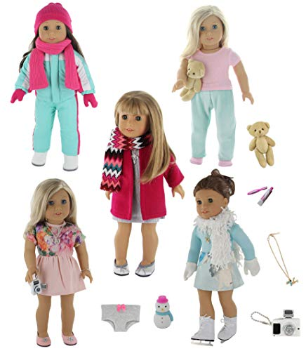 ll Clothes - 5 Winter Outfit Set with Accessories, Fits American Girl Doll ()