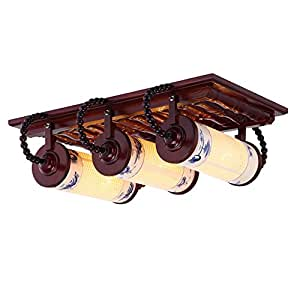 Chinese Style Ceramic Ceiling Lamp Carved Solid Wood Ceiling Lights E27 Bedroom Dining Room Light (1/2/3 Light) ( Color : 3 heads )