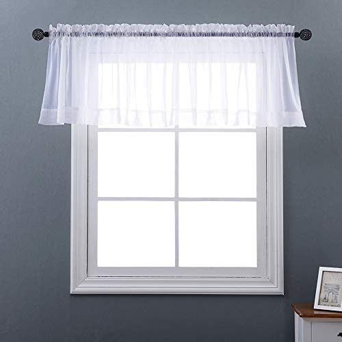 (NICETOWN White W60 x L20, Short Voile Sheer Valance Rod Pocket Panels for Kitchen, Cafe, Flat & Other Small Windows, 1 Panel )