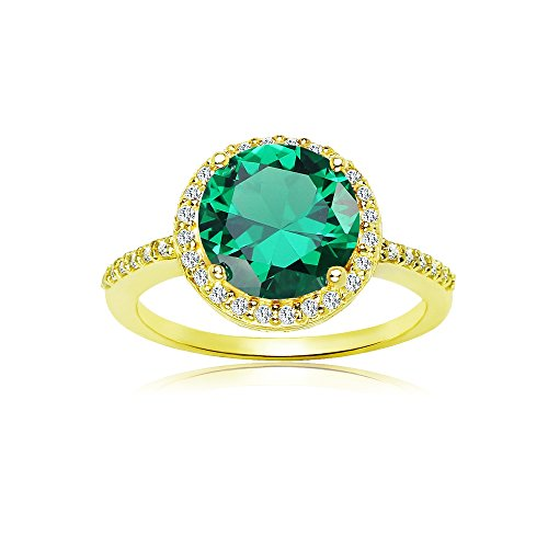 (Ice Gems Yellow Gold Flashed Silver Simulated Emerald and Cubic Zirconia Round Halo Ring, Size 7)
