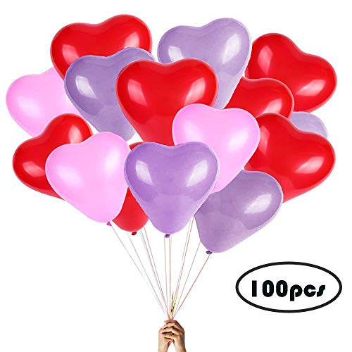 Heart Balloons - 100PCS 12 inches Red pink and White Latex Balloons for Wedding Decorations, Thicken Heart shaped matt balloon, Bride Shower, Birthday Party, Valentines day Balloons, New Year party de -