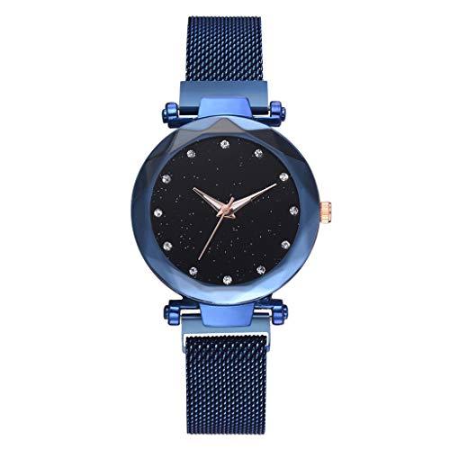 PoityA Quartz Watch Universe Dial Plate Glittering Rhinestone Shiny Glow Women Watches Jewelry Alloy Magnetic Belt Fashion Luxury Charms Gifts