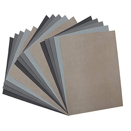 SIQUK 18 Pieces Sandpaper Wet and Dry Sandpaper Assortment 3000 5000 7000 High
