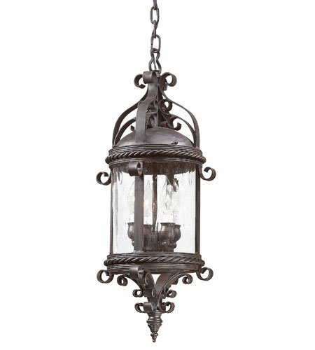 Pamplona Four Light - Outdoor Pendant 4 Light With Old Bronze Finish Hand Forged Iron Material Candelabra 10 inch Wide 240 Watts