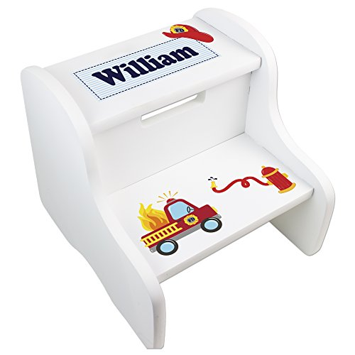 Step 2 Fire Engine - Personalized Boys Fire Truck White Step Stool