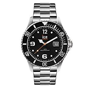 Ice-Watch – Ice Steel Black Silver – Montre Noire Mixte avec Bracelet en Metal – 016031 (Medium)