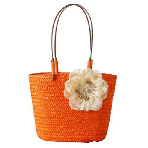 mains Sacs YOUJIA portés Orange avec de plage Tote Sacs Boho Femmes Paille Sacs Fleurs bandoulière aqxqHnBAOW