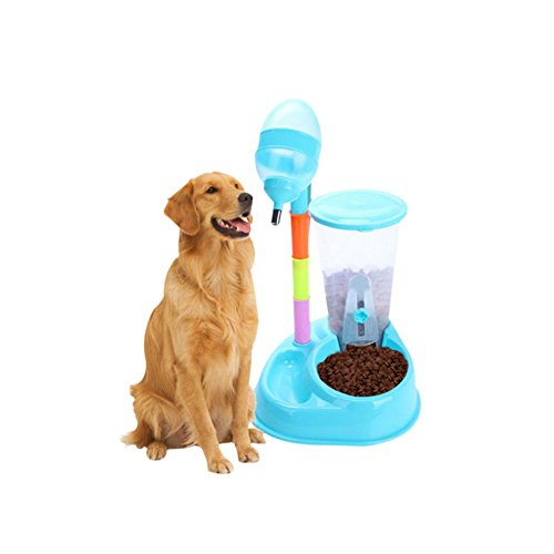 Jutao Automatic Pet Feeder Double Pet Bowls Cats Dogs, 2 in 1 Adjustable Water Food Dispenser, 2400ml Larger Capacity Feeder Advanced Filtration 650ml Pets Drinking Fountain (Blue)
