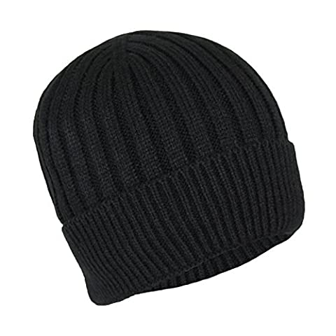 Classic Ribbed Cable Knit Beanie Hat-Unisex Warm Fleece Lined Acrylic Winter Cap (Black) - Black Classic Knit Beanie