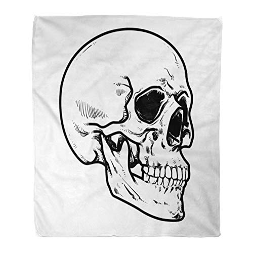 Emvency Throw Blanket Warm Cozy Print Flannel Line Skull Collection of Hard Core Anatomic Anatomy Comfortable Soft for Bed Sofa and Couch 60x80 Inches ()