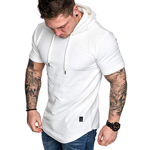 2019 Newest Short Sleeve T-Shirt for Mens Casual Slim Fit Hoodie Top Summer Boy O-Neck Pleats Raglan Cotton Blouse D-White
