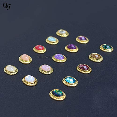(Kamas 5pcs Nail Art Decorations Metal Inlay Precious Stones Design Rhinestones DIY Accessory Studs Sticker Nail TYKL04 - (Color: S12))