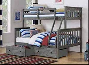 Donco Kids Mission Bunk Bed Brushed Grey/Twin/Full/W/Dual Under