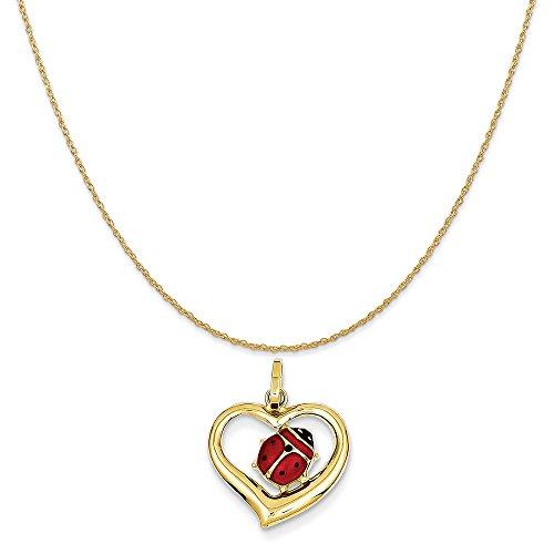 Yellow Enameled Ladybug (14k Yellow Gold Enameled Ladybug in Heart Charm on 14K Yellow Gold Rope Chain Necklace, 16