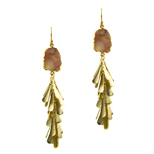 Just Give Me Jewels Gold Plated Ocean Jasper Slice with Teardrop Fringe Dangle Earrings