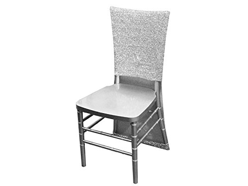 BalsaCircle 10 Silver Metallic Fitted Spandex Stretch Chair Slipcovers for Wedding Party Event Reception Decorations Home Supplies