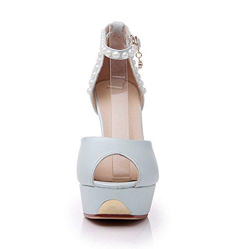Aalardom Womens Peep Toe Spikes Stilettos Sandali Morbidi Fibbia In Materiale Solido Blu