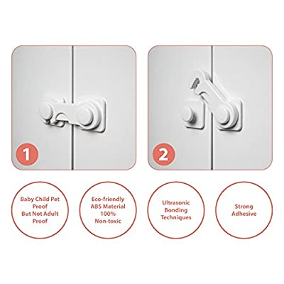 Moreideas Cabinet Locks - Pack of 4 Child Safety Locks - Child Baby Proof Safety Lock Lacthes- Kitchen Child Cabinet Lock - Baby Proofing Kit
