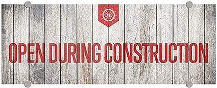Open During Construction CGSignLab 8x3 Nautical Wood Premium Brushed Aluminum Sign 5-Pack