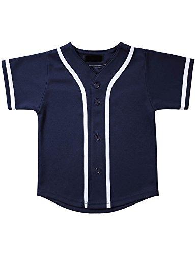 Hat and Beyond Kids Baseball Jersey Button Down T Shirts Hipster Plain Hip Hop Uniforms (06T, 5pu01_Nav.WHI)