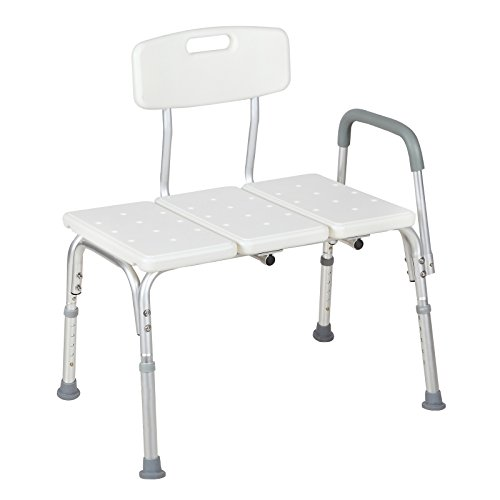 Uenjoy Tub Transfer Bench for Seniors,Medical Shower Chairs with Reversible Backrest,Adjustable Heavy Duty Three Piece Tub seat,White ()