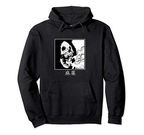 Minimalist japanese Hoodie Skull Dope in kanji