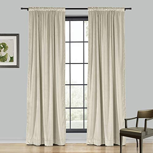 TWOPAGES Extra Wide Beige Heavyweight Thick Soft Velvet Curtain for Sliding Glass Door, 120W x 96L Back Tab Light Filtering Curtain, 1 Panel, 4 in 1 Header