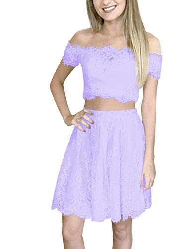 Homecoming Shoulder Short Lace Women's Dress Lilac Off Bess Prom Two Bridal Piece qzIFY60