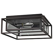 Stone & Beam Industrial Rectangle Cage Flush Mount Indoor Ceiling Fixture With 2 Light Bulbs - 15.25 x 15.25 x 6.5 Inches, Oil-Rubbed Bronze