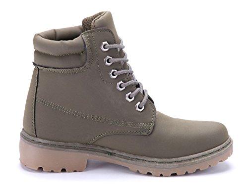 Schuhtempel24 Damen Schuhe Boots Stiefel Stiefeletten Blockabsatz 4 cm Grün